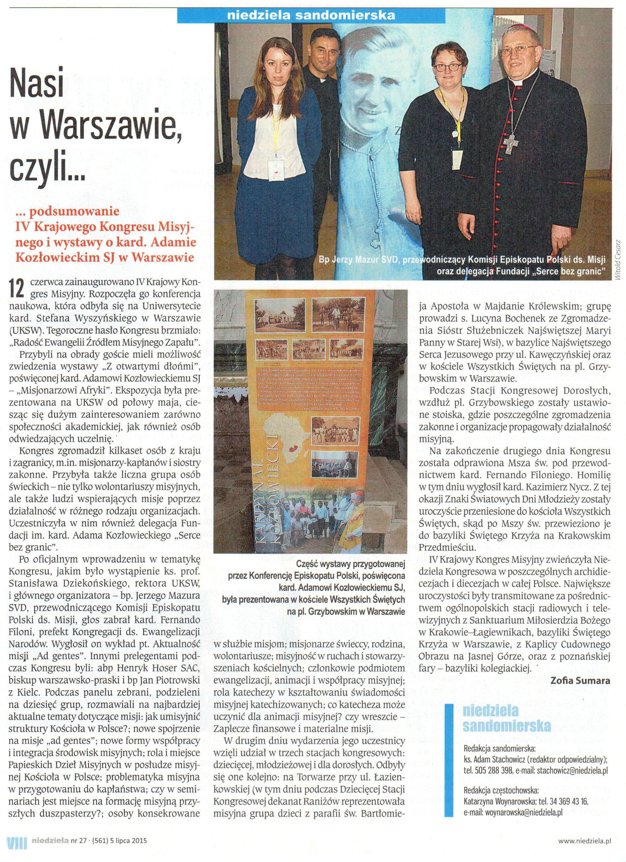 Artykuł - Niedziela Sandomierska, 05.07.2015
