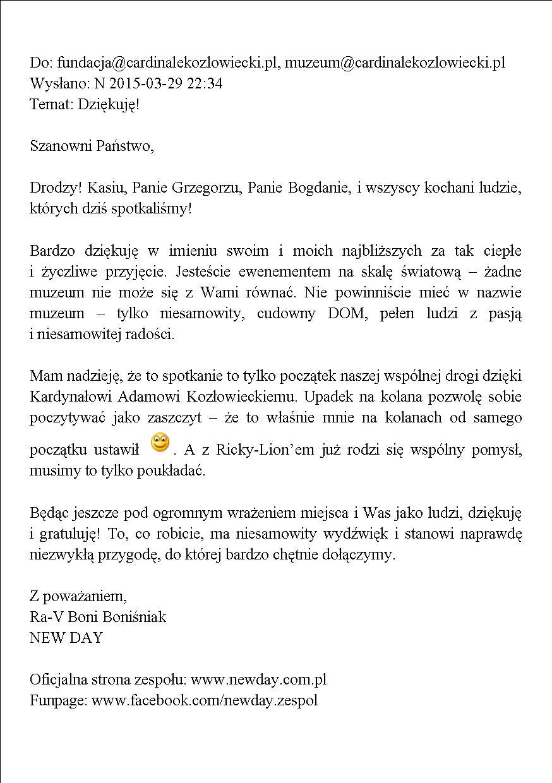 Podziękowanie - Rafał Boniśniak